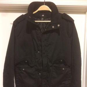 H&M Black Military Style Bomber Jacket Size 40